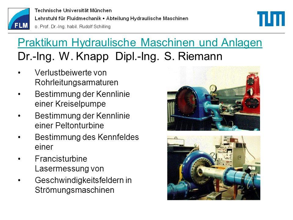 Praktikum Hydraulische Maschinen und Anlagen Dr. -Ing. W. Knapp Dipl