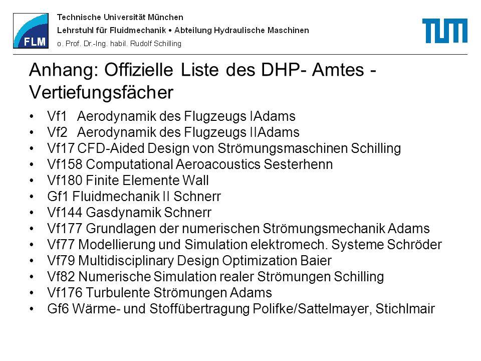 Anhang: Offizielle Liste des DHP- Amtes - Vertiefungsfächer