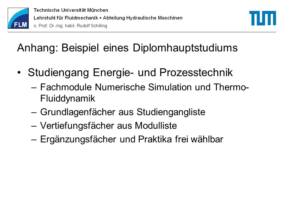 Anhang: Beispiel eines Diplomhauptstudiums