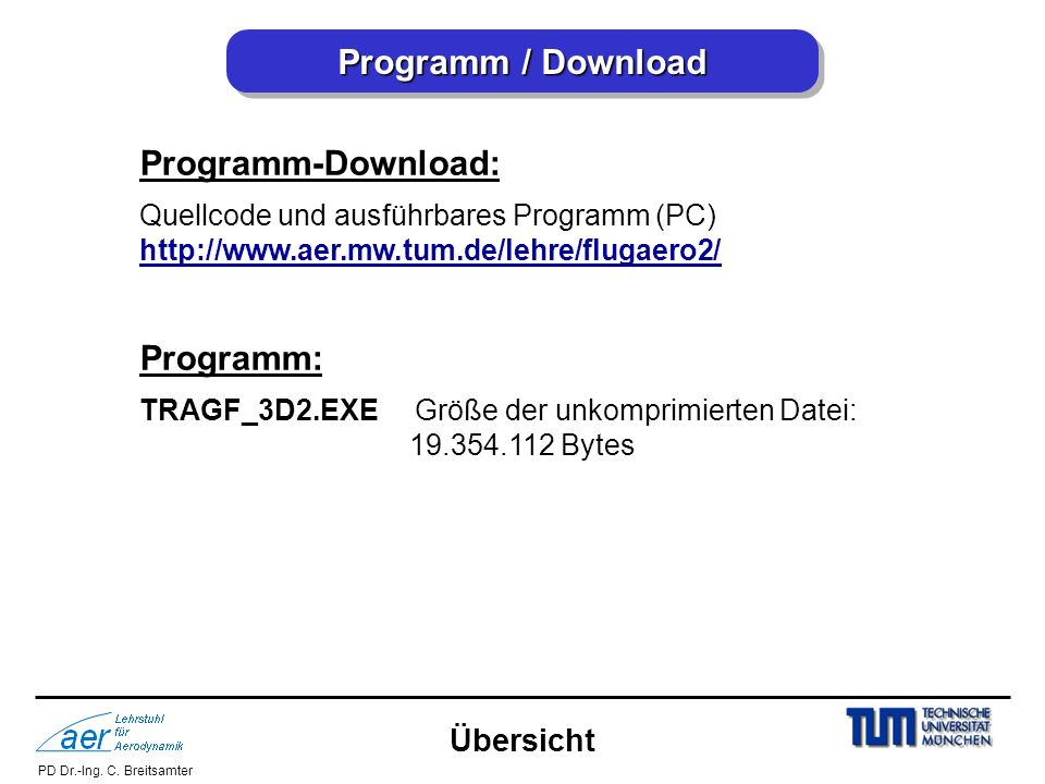 Programm / Download Programm-Download: Programm: Übersicht