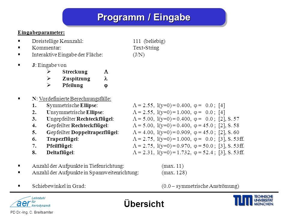 Programm / Eingabe Übersicht Eingabeparameter:
