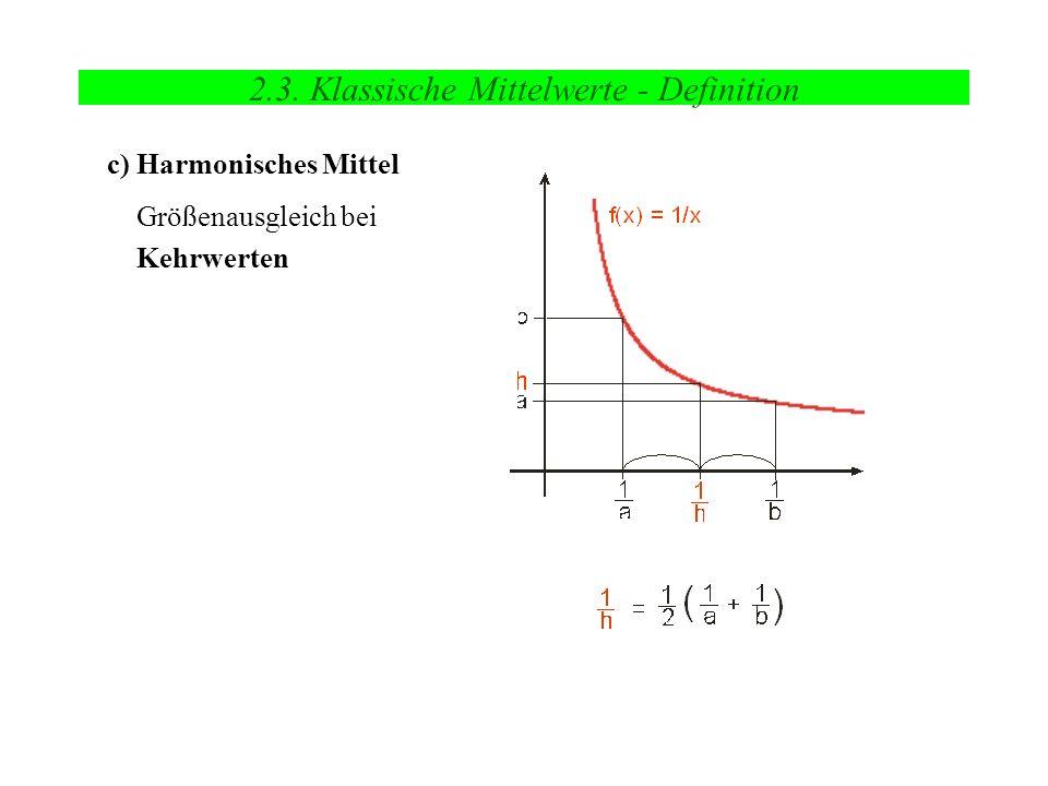 2.3. Klassische Mittelwerte - Definition