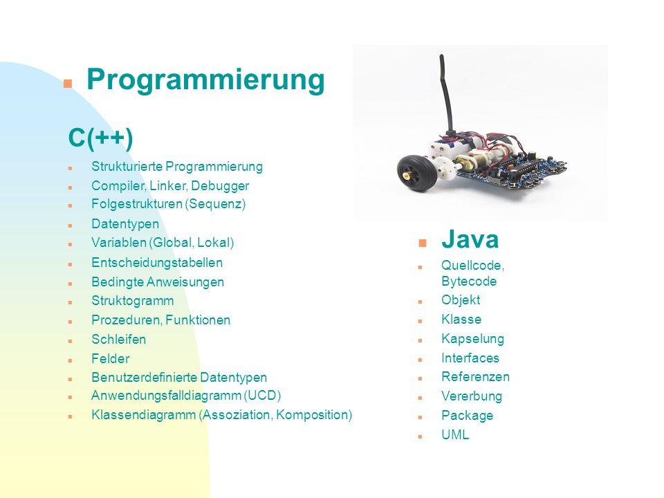 Programmierung C(++) Java Strukturierte Programmierung