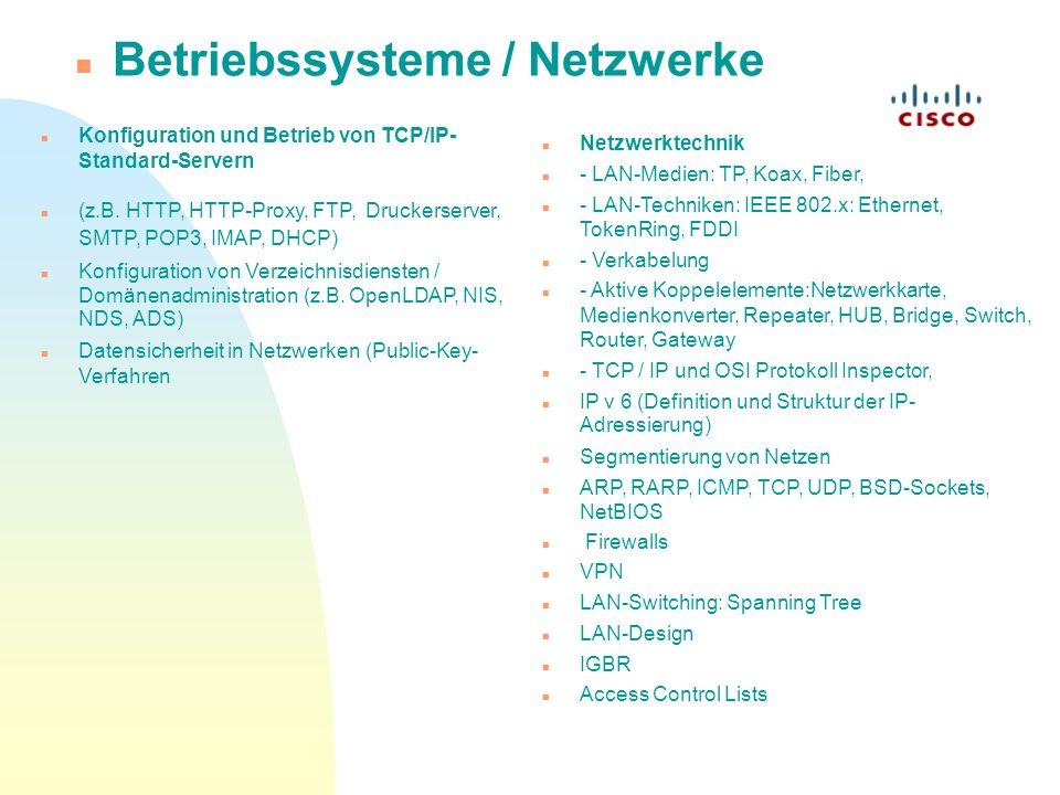 Betriebssysteme / Netzwerke