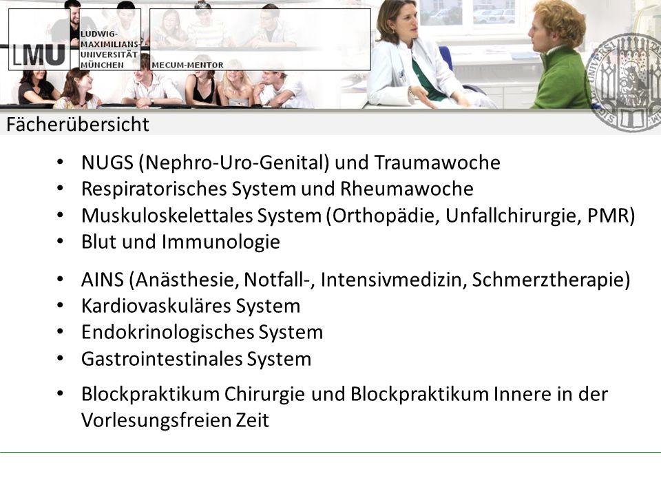 Fächerübersicht NUGS (Nephro-Uro-Genital) und Traumawoche. Respiratorisches System und Rheumawoche.