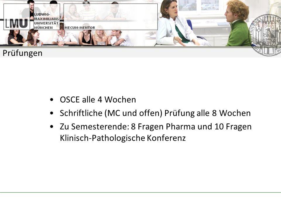 Prüfungen OSCE alle 4 Wochen. Schriftliche (MC und offen) Prüfung alle 8 Wochen.