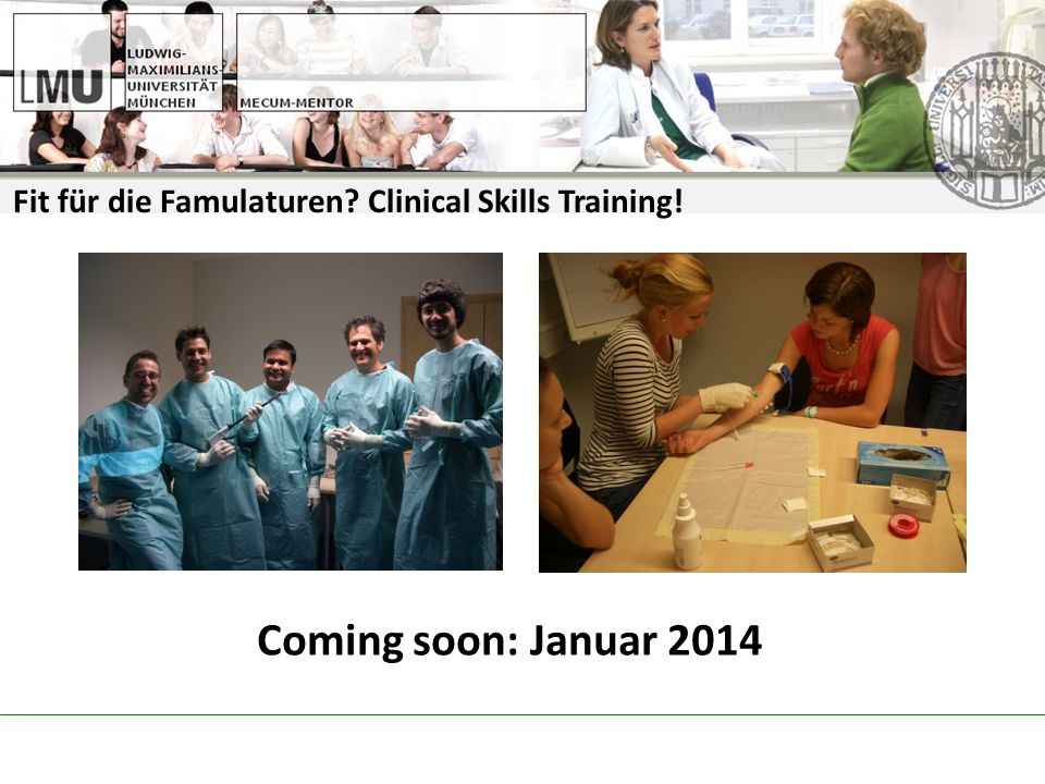 Fit für die Famulaturen Clinical Skills Training!