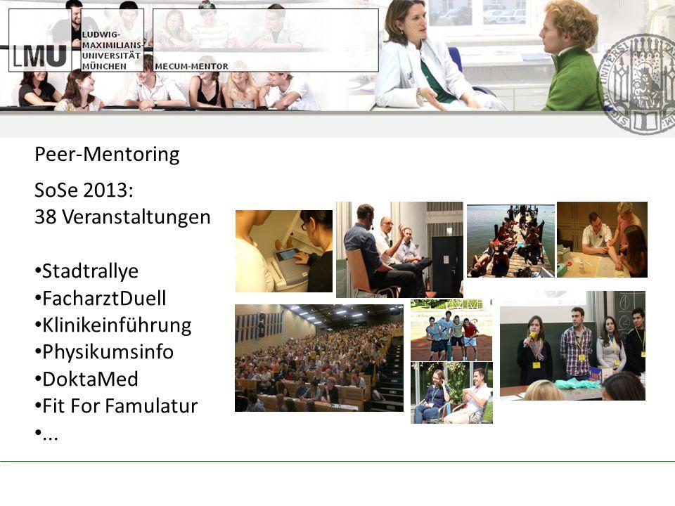 Peer-Mentoring SoSe 2013: 38 Veranstaltungen. Stadtrallye. FacharztDuell. Klinikeinführung. Physikumsinfo.