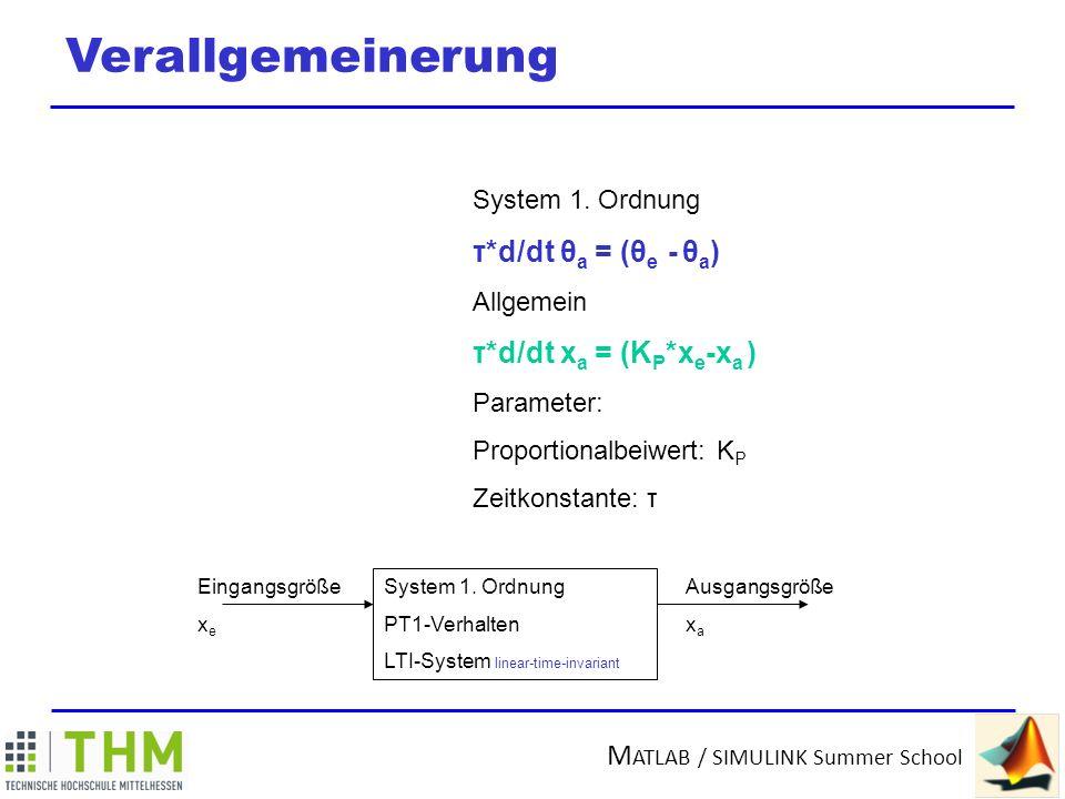 Verallgemeinerung τ*d/dt θa = (θe - θa) τ*d/dt xa = (KP*xe-xa )
