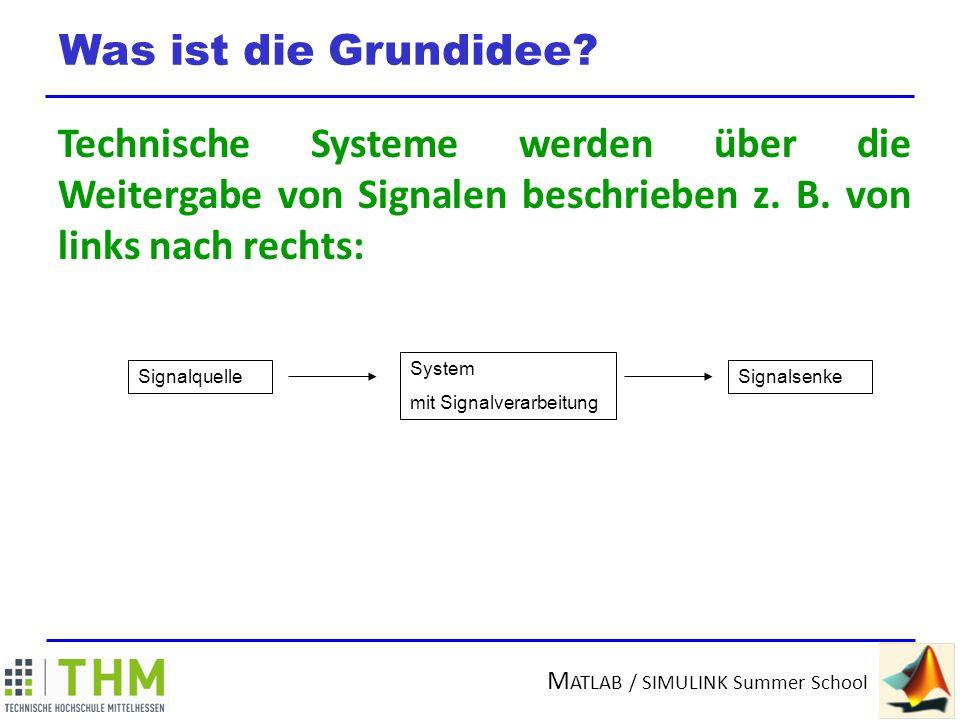 Was ist die Grundidee Technische Systeme werden über die Weitergabe von Signalen beschrieben z. B. von links nach rechts: