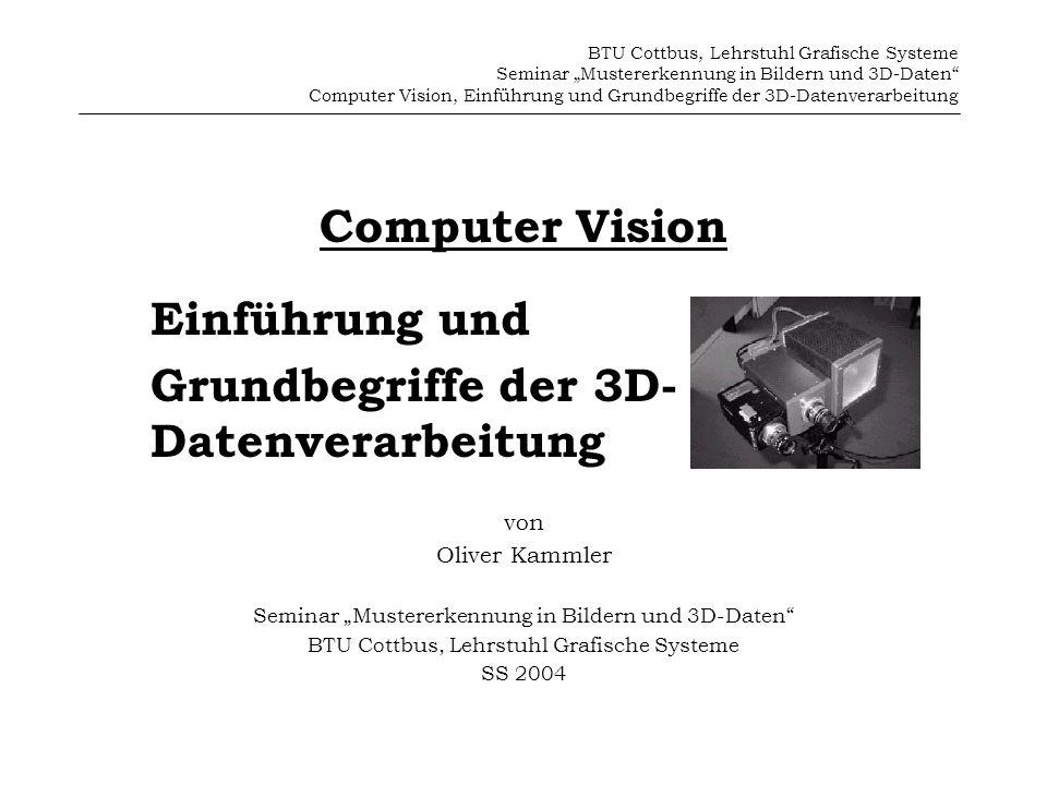 Grundbegriffe der 3D- Datenverarbeitung