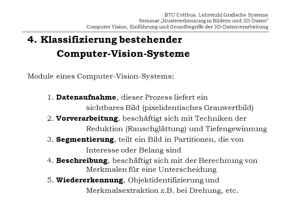 4. Klassifizierung bestehender Computer-Vision-Systeme