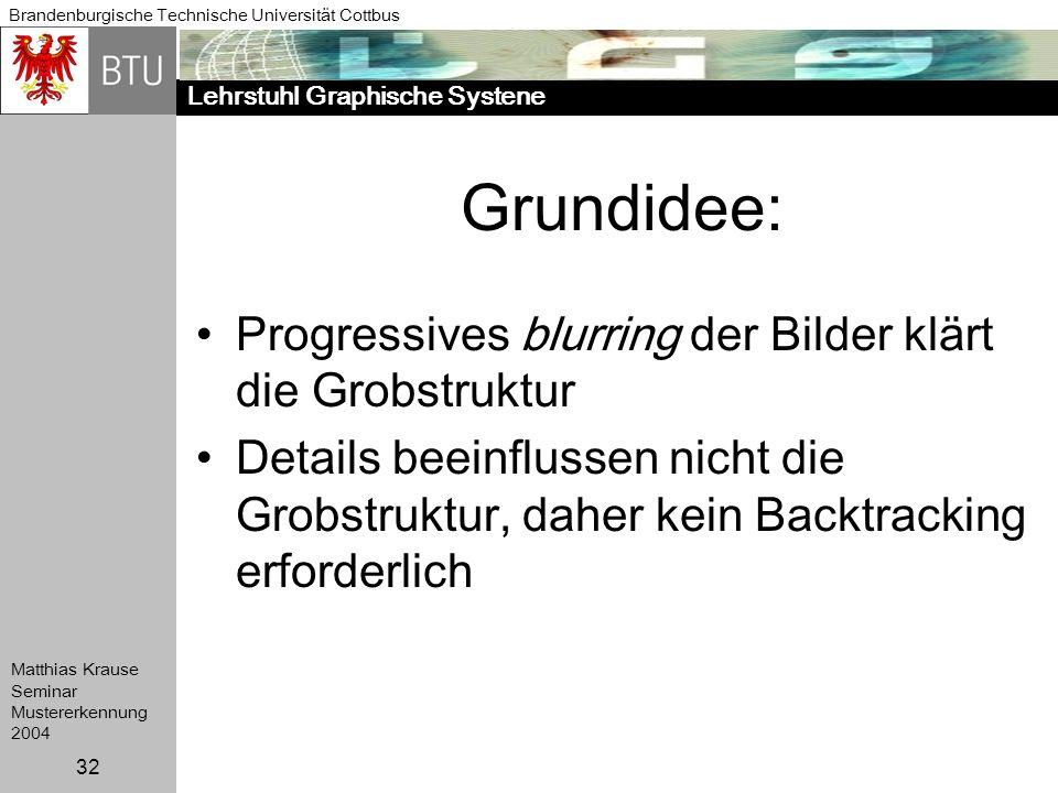 Grundidee: Progressives blurring der Bilder klärt die Grobstruktur