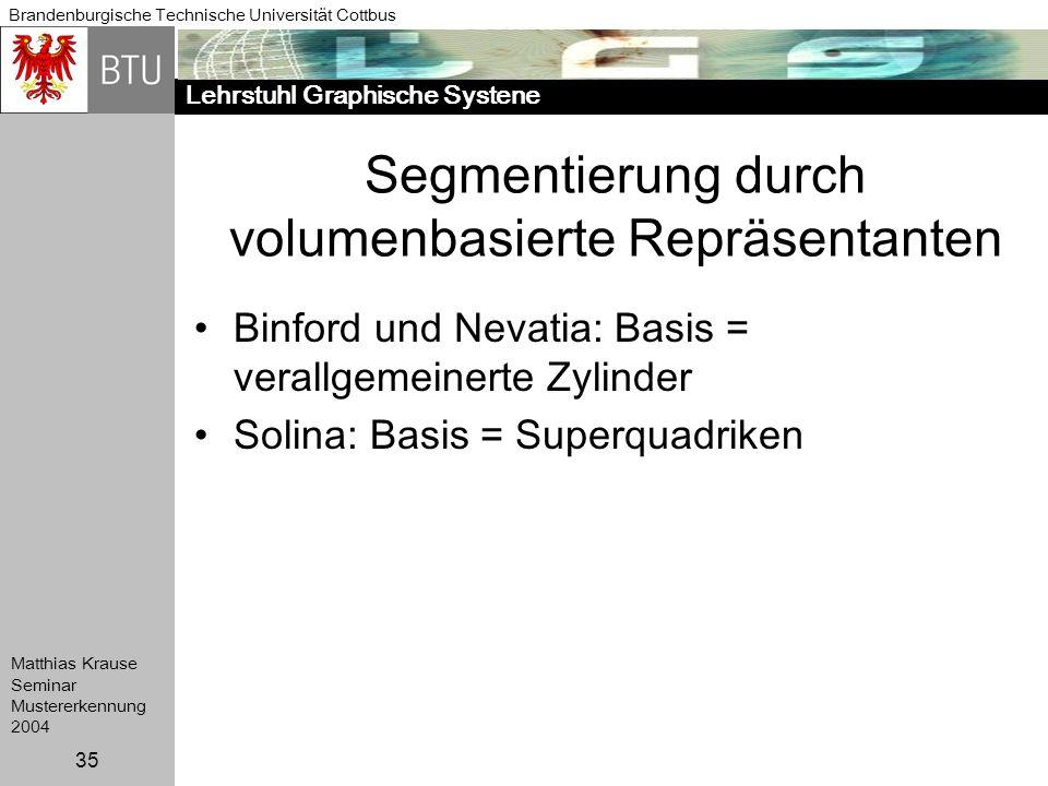 Segmentierung durch volumenbasierte Repräsentanten