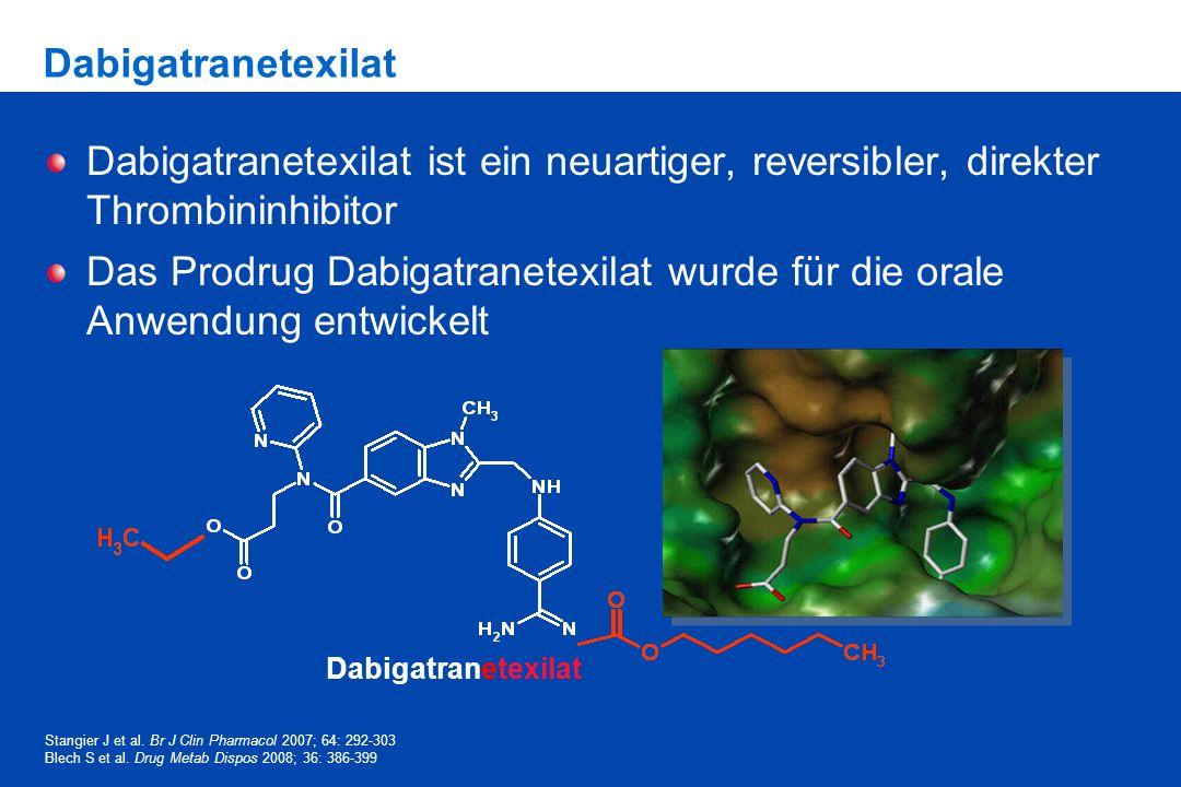 DabigatranetexilatDabigatranetexilat ist ein neuartiger, reversibler, direkter Thrombininhibitor.