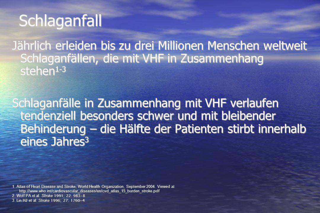 SchlaganfallJährlich erleiden bis zu drei Millionen Menschen weltweit Schlaganfällen, die mit VHF in Zusammenhang stehen1-3.