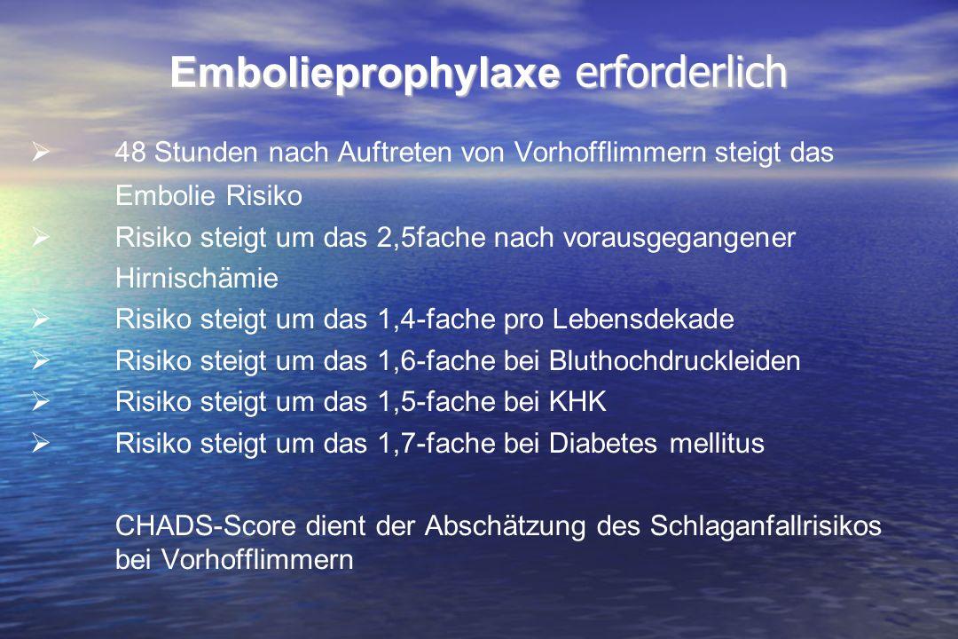 Embolieprophylaxe erforderlich