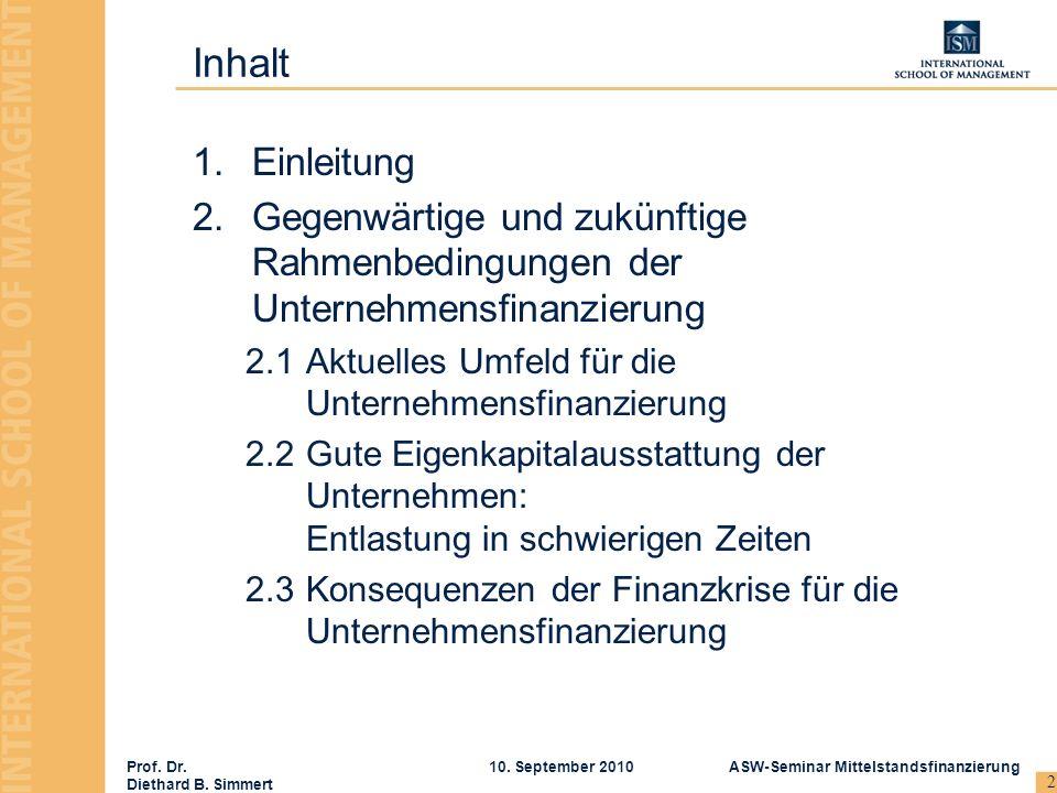 Inhalt Einleitung. Gegenwärtige und zukünftige Rahmenbedingungen der Unternehmensfinanzierung.