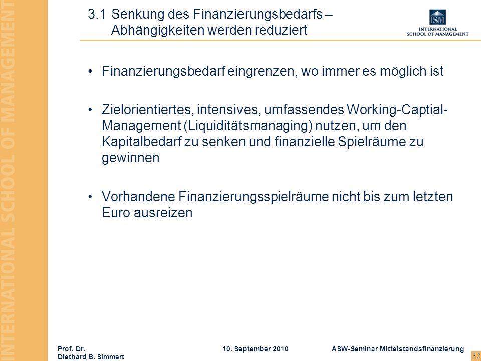 3.1 Senkung des Finanzierungsbedarfs – Abhängigkeiten werden reduziert