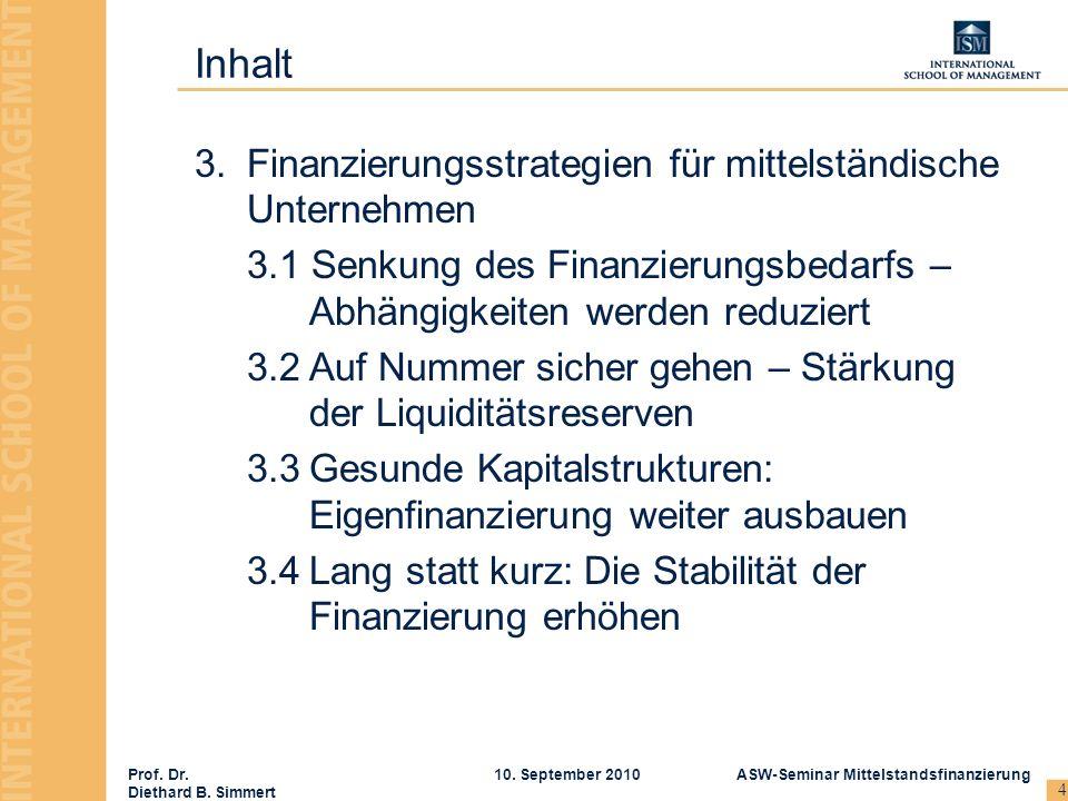 Inhalt Finanzierungsstrategien für mittelständische Unternehmen