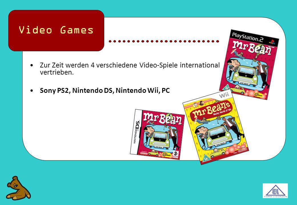 Video Games Zur Zeit werden 4 verschiedene Video-Spiele international vertrieben.
