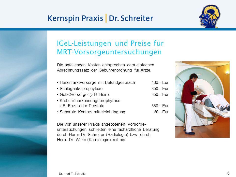 IGeL-Leistungen und Preise für MRT-Vorsorgeuntersuchungen