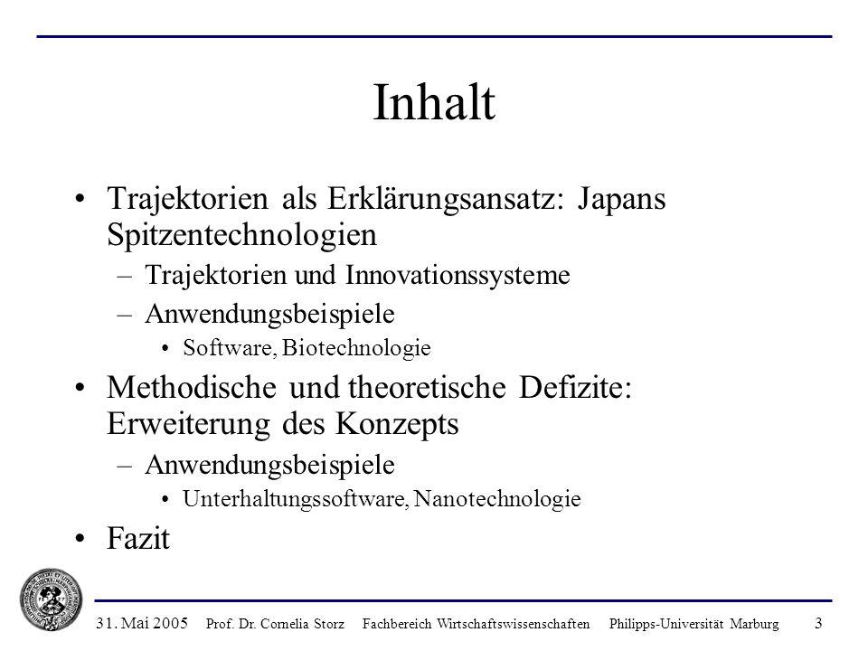 Inhalt Trajektorien als Erklärungsansatz: Japans Spitzentechnologien