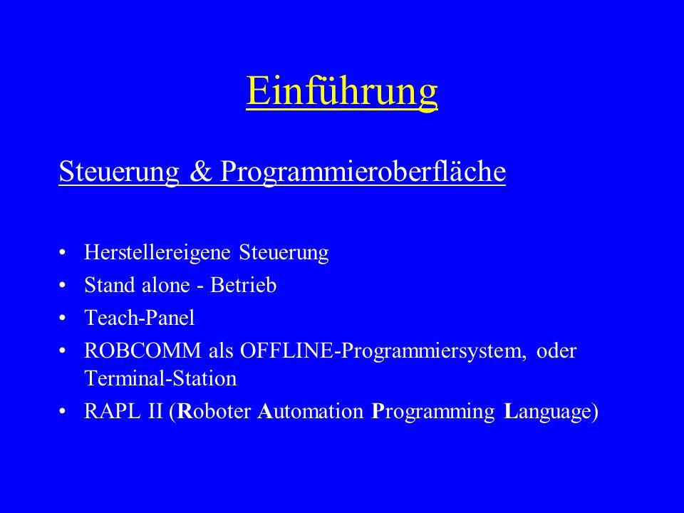 Einführung Steuerung & Programmieroberfläche