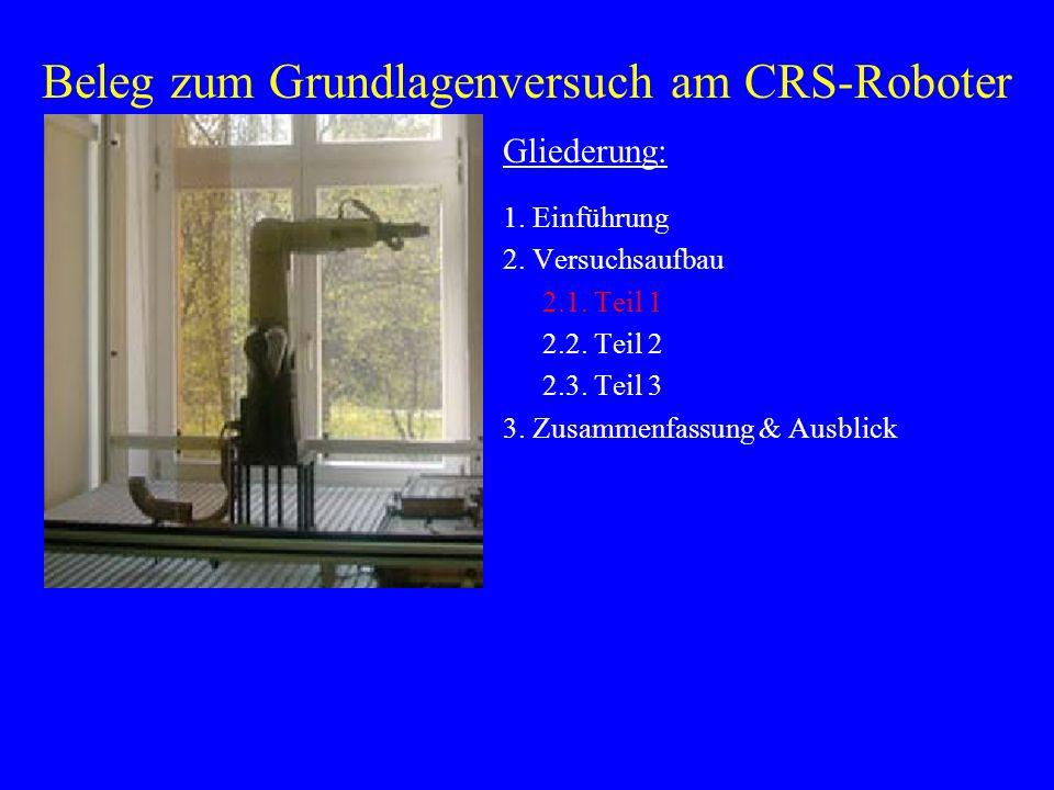 Beleg zum Grundlagenversuch am CRS-Roboter