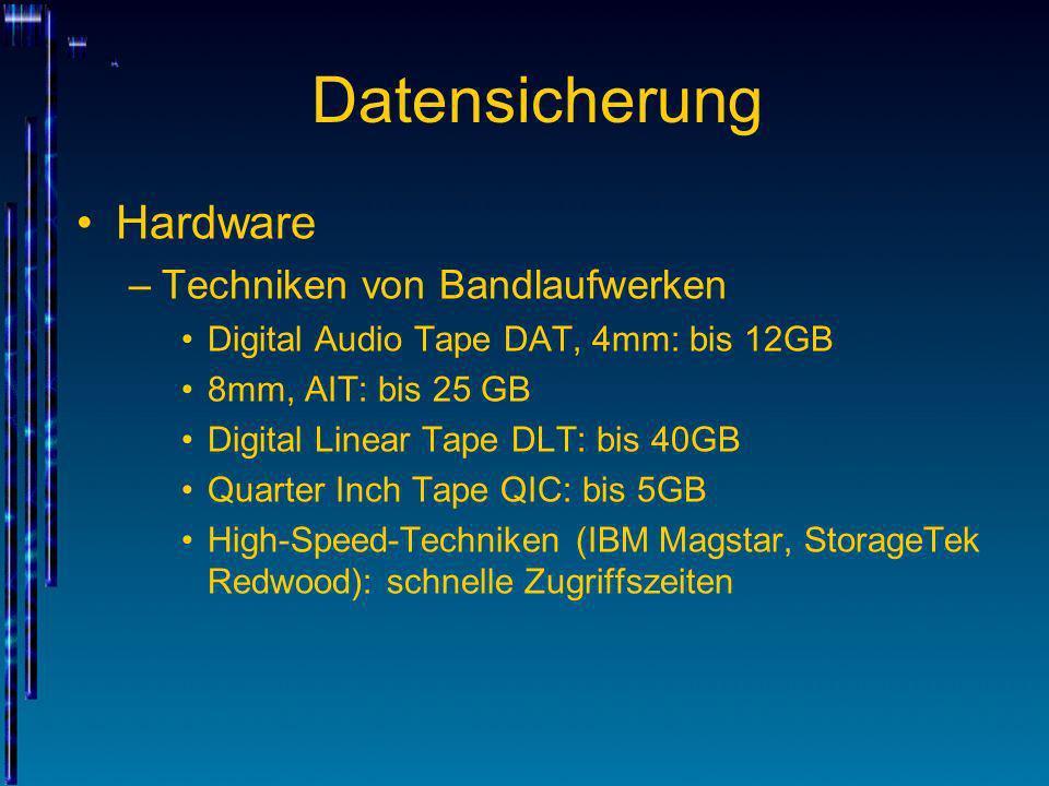 Datensicherung Hardware Techniken von Bandlaufwerken