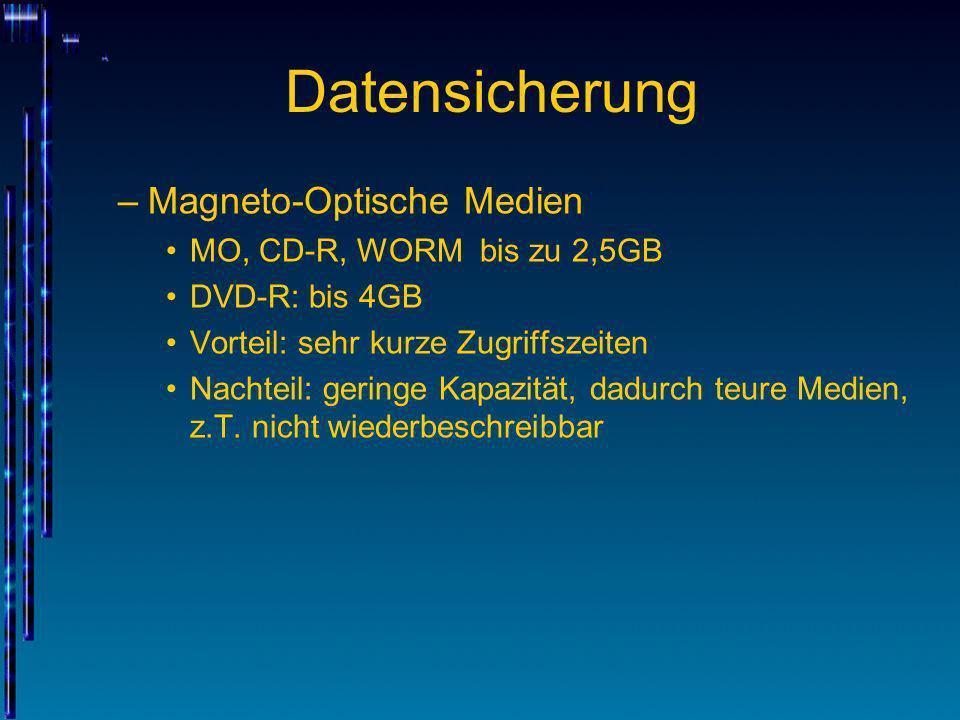 Datensicherung Magneto-Optische Medien MO, CD-R, WORM bis zu 2,5GB