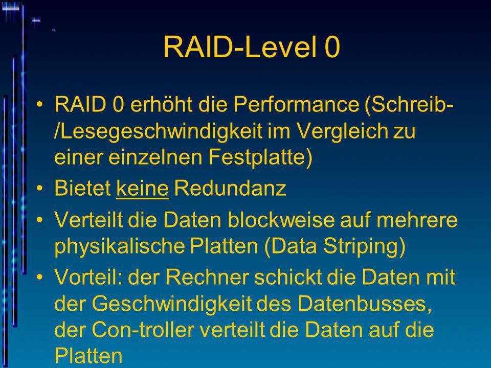 RAID-Level 0RAID 0 erhöht die Performance (Schreib-/Lesegeschwindigkeit im Vergleich zu einer einzelnen Festplatte)