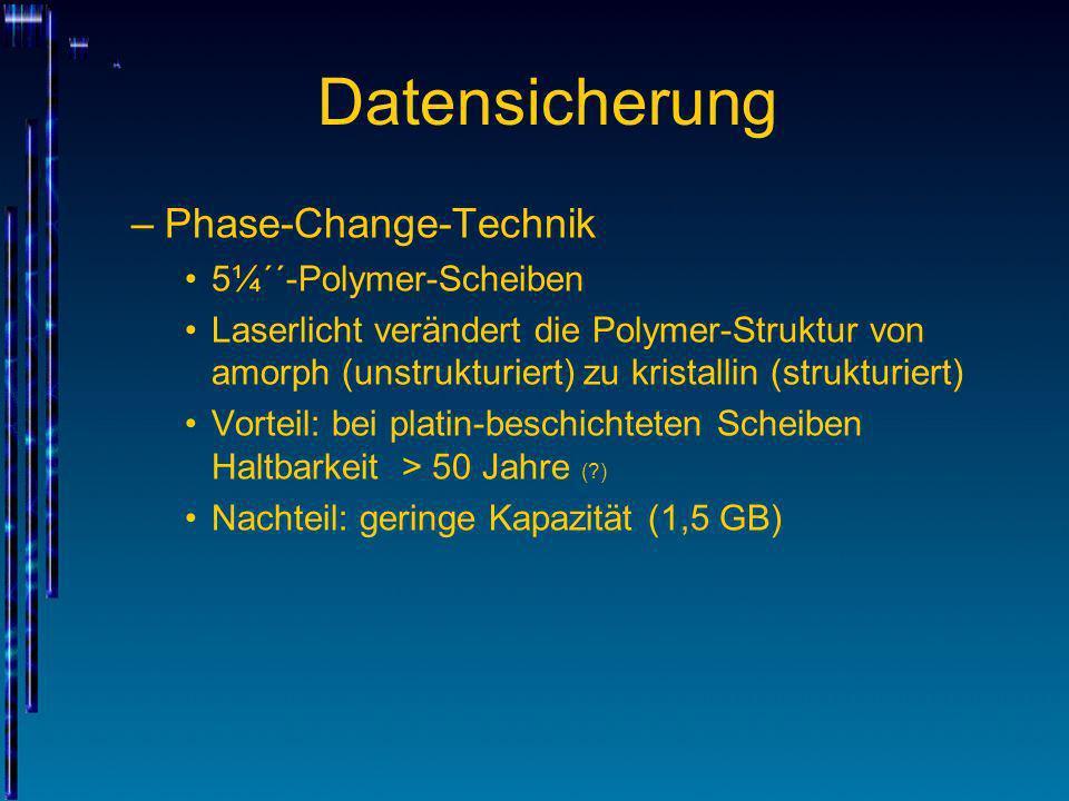 Datensicherung Phase-Change-Technik 5¼´´-Polymer-Scheiben
