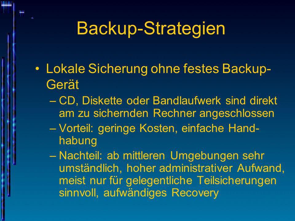 Backup-Strategien Lokale Sicherung ohne festes Backup-Gerät