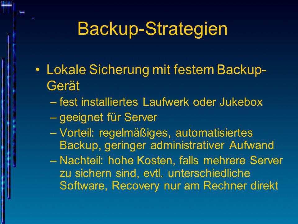 Backup-Strategien Lokale Sicherung mit festem Backup-Gerät