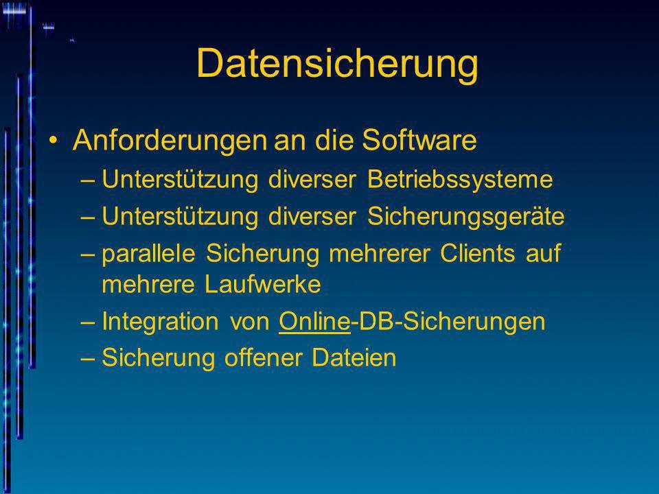 Datensicherung Anforderungen an die Software