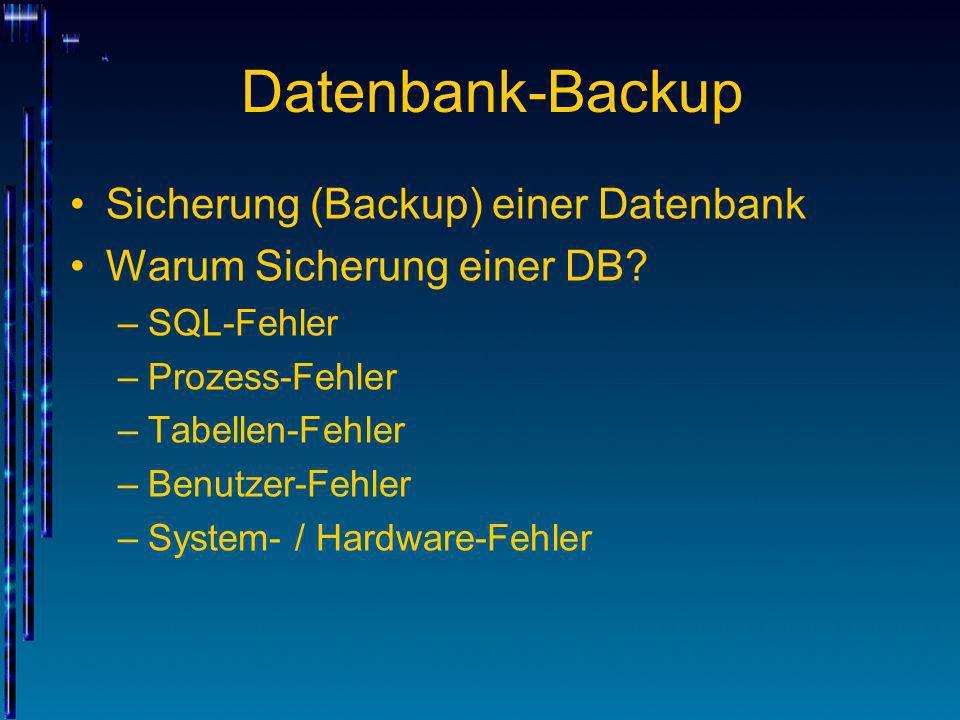 Datenbank-Backup Sicherung (Backup) einer Datenbank