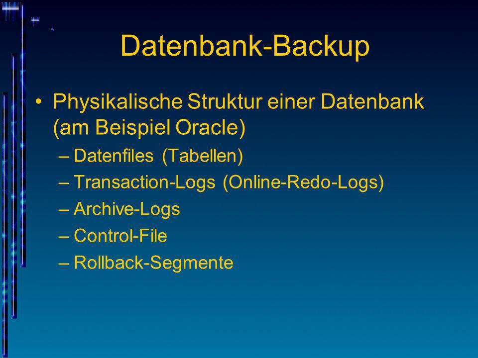 Datenbank-Backup Physikalische Struktur einer Datenbank (am Beispiel Oracle) Datenfiles (Tabellen)