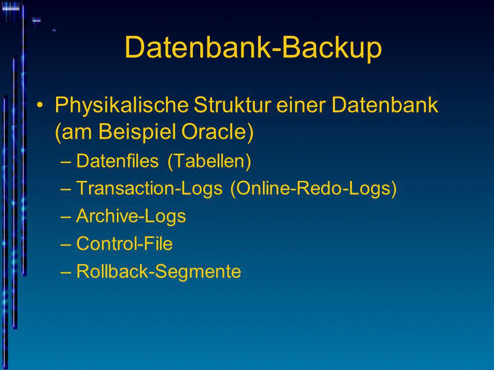 Datenbank-BackupPhysikalische Struktur einer Datenbank (am Beispiel Oracle) Datenfiles (Tabellen) Transaction-Logs (Online-Redo-Logs)