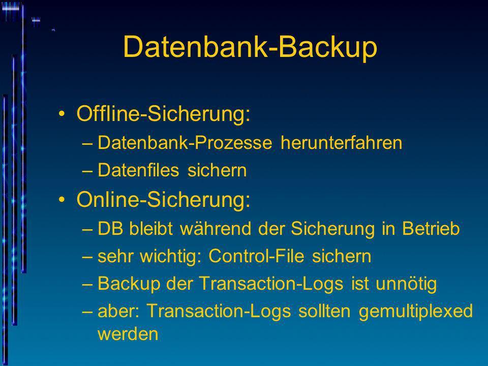 Datenbank-Backup Offline-Sicherung: Online-Sicherung: