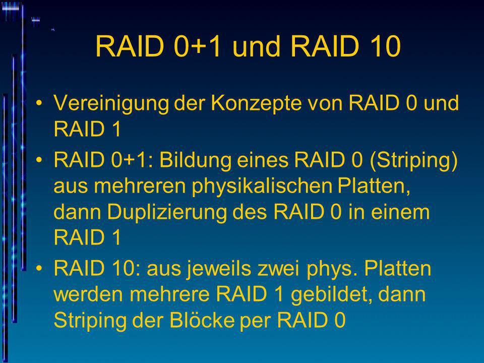 RAID 0+1 und RAID 10 Vereinigung der Konzepte von RAID 0 und RAID 1