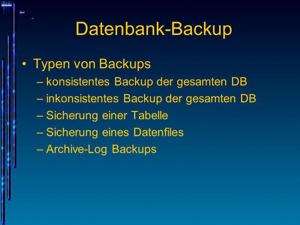 Datenbank-Backup Typen von Backups konsistentes Backup der gesamten DB
