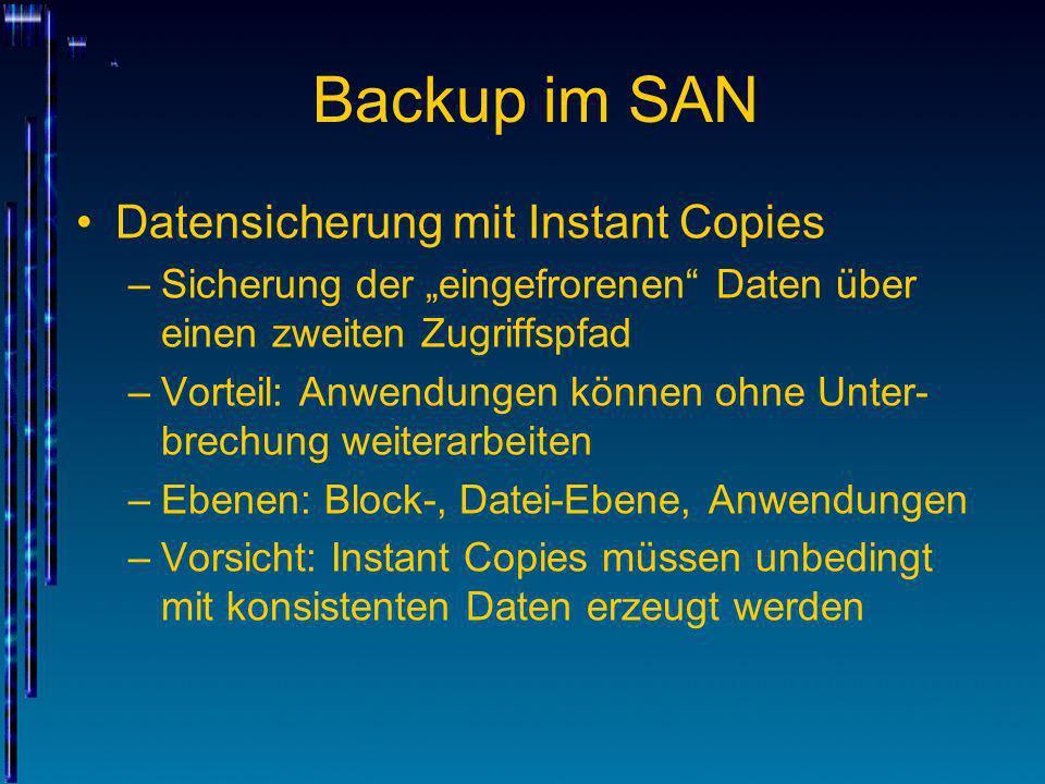 Backup im SAN Datensicherung mit Instant Copies