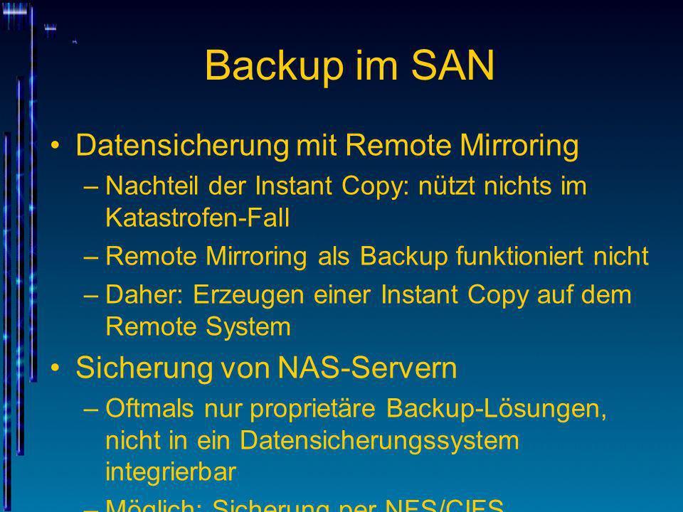 Backup im SAN Datensicherung mit Remote Mirroring