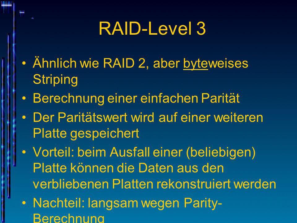 RAID-Level 3 Ähnlich wie RAID 2, aber byteweises Striping