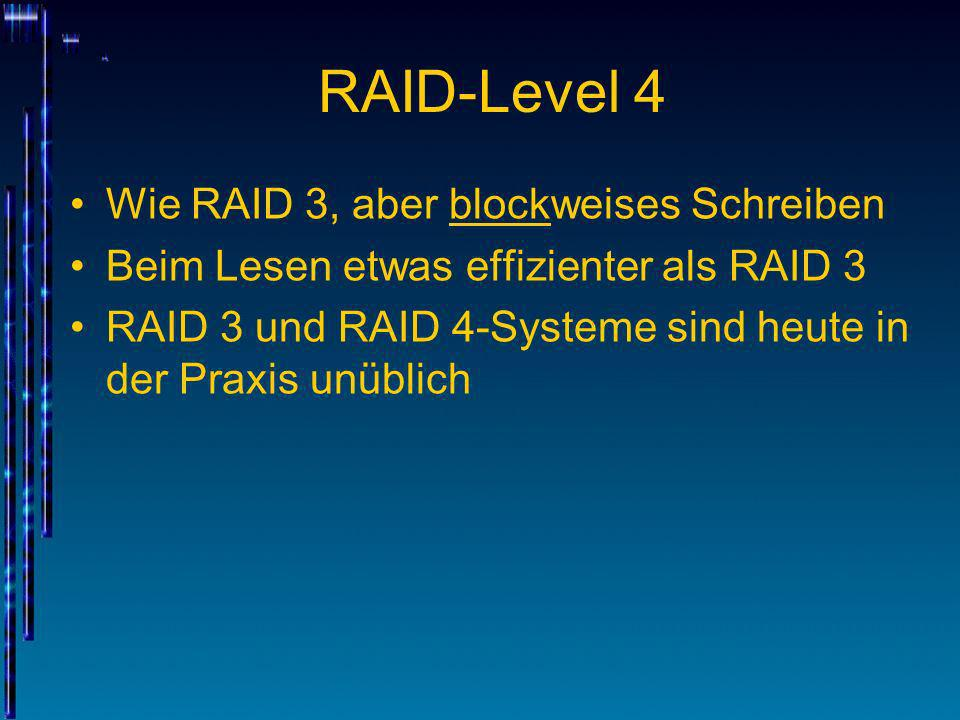 RAID-Level 4 Wie RAID 3, aber blockweises Schreiben
