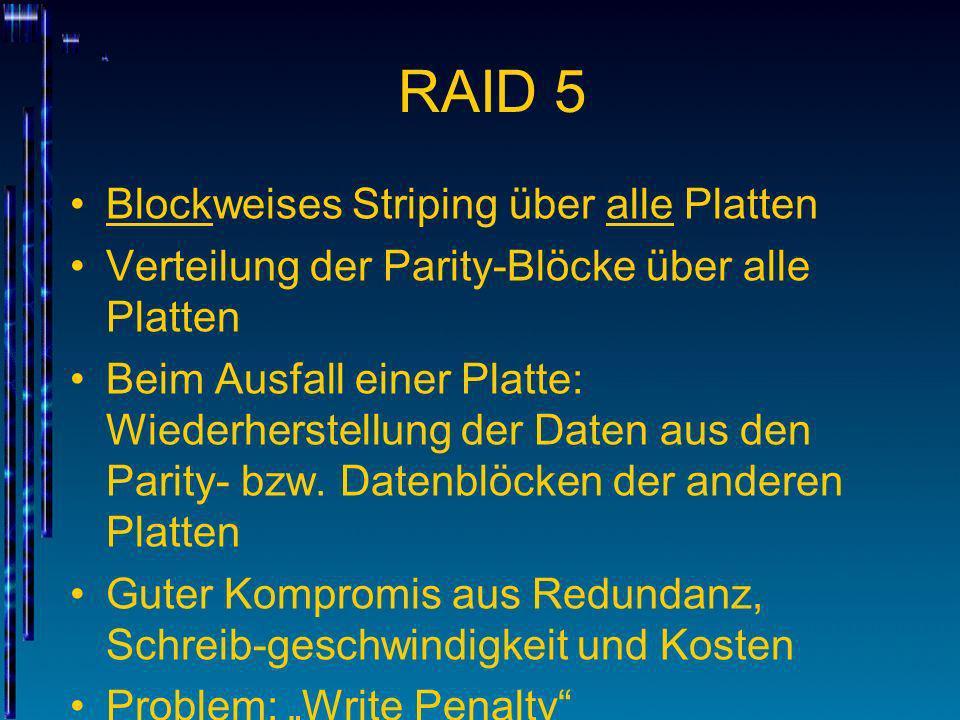 RAID 5 Blockweises Striping über alle Platten