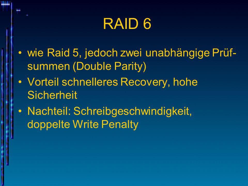 RAID 6 wie Raid 5, jedoch zwei unabhängige Prüf-summen (Double Parity)