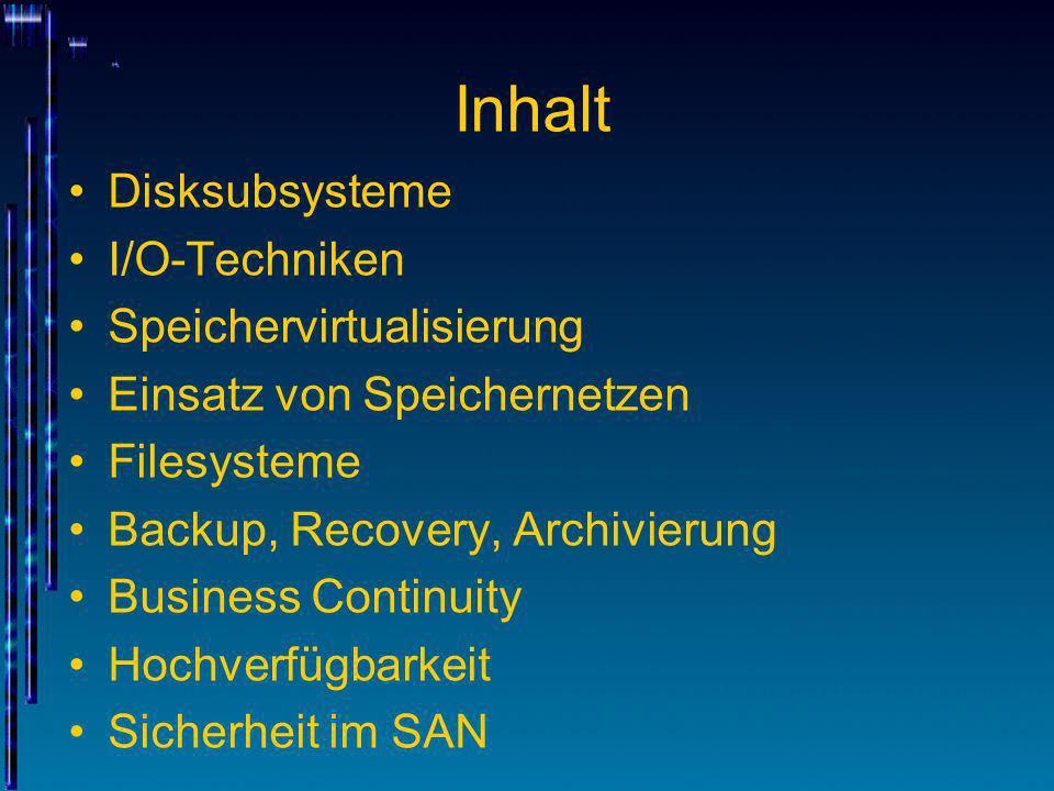 Inhalt Disksubsysteme I/O-Techniken Speichervirtualisierung