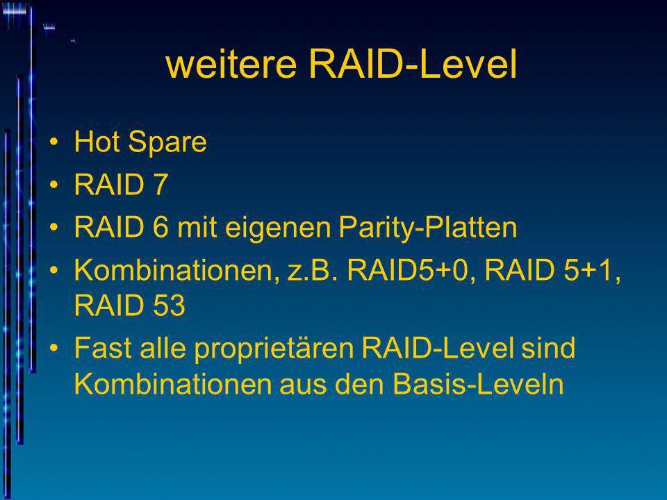 weitere RAID-Level Hot Spare RAID 7 RAID 6 mit eigenen Parity-Platten